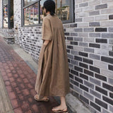 Loose Cotton And Linen Split Knee-Length Shirt Dress June 2020-New Arrival S Brown