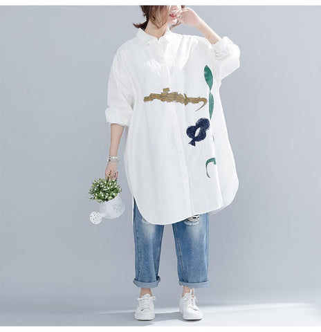 Loose Cotton Cartoon Embroidery Print Shirt Long Sleeve Dress