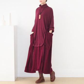 Loose High Neck Knitted Dress Nov 2020-New Arrival FREE SIZE RED