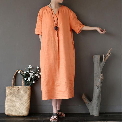 Loose Linen Distressed Women Casual Orange Dress Short Sleeve Dress
