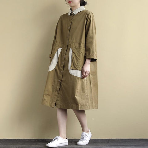 Loose Long-Sleeved Stitching Large Pockets Shirt Dress May 2020-New Arrival One Size Khaki