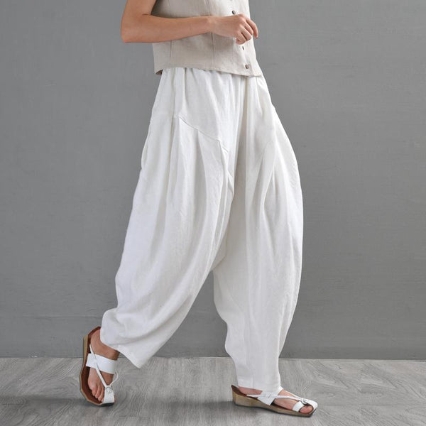 Loose Retro Linen Casual Pants Trousers March-2020-New Arrival #4 White