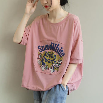 Loose Round Neck Casual Cartoon Printing T-Shirt March-2020-New Arrival One Size Pink