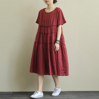 Loose Round Neck Solid Color Casual Short-Sleeved Dress April 2020-New Arrival One Size Red