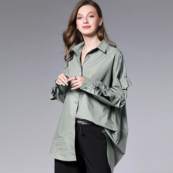 Loose Ruffled Cotton Shirt Elegant Western Style Shirt March-2020-New Arrival XL Green