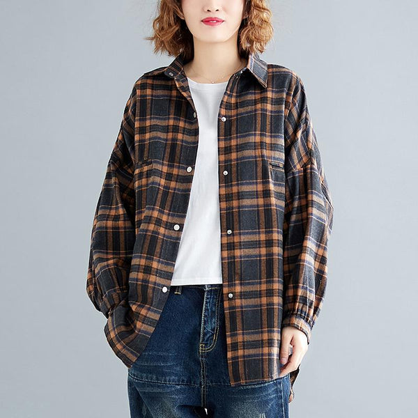 Loose Slim Cardigan September Plaid Shirt Jacket September 2020 new arrival L coffee grid