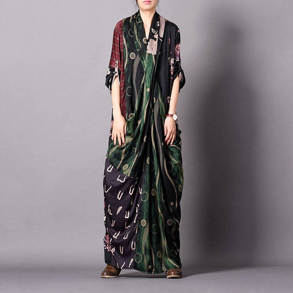 Loose V-neck Cross Front Stitching Silk Dress Maxi Dresses Cll One Size Green