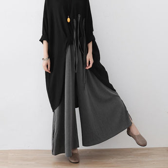 Loose Wide-leg Pants With Cotton And Linen Stripes August 2020-New Arrival