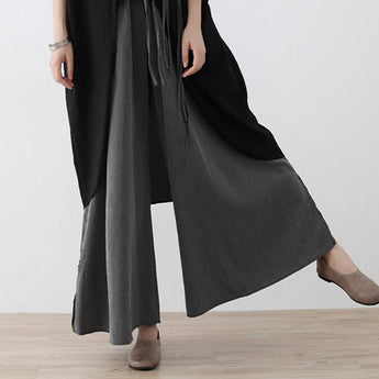 Loose Wide-leg Pants With Cotton And Linen Stripes August 2020-New Arrival gray