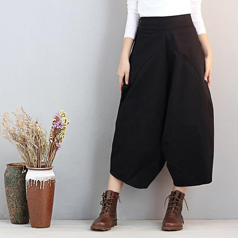 Loose Women Casual Cotton Irregular Black Lantern Pants Pants