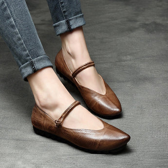 Marry Jane Leather Pointed Toe Flats Shoes 2020 New January 35 Light Coffee