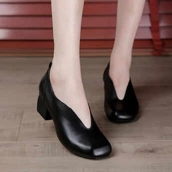 Mid-Heel Shallow Mouth Chunky Heel Casual Shoes August 2020-New Arrival 35