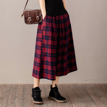 Mid-length Casual Pleated A-line Loose Dress Nov 2020-New Arrival FREE SIZE RED-BULE