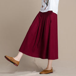 Mid-length Literary Solid Color Slim A-line Loose Dress Nov 2020-New Arrival S RED