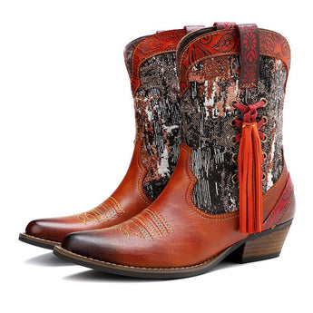 Multi-color Topstitching Leather Cowboy Boots 2019 November New 36 Orange