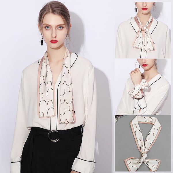 Narrow Strip Small Silk Scarf Blouse Accessories OCT 100*7