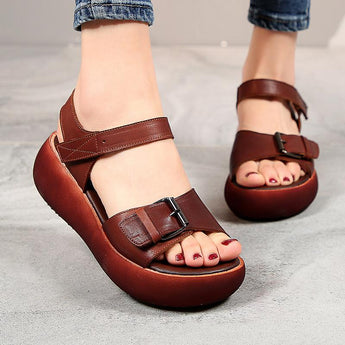 New Fashion Retro First Layer Cowhide Casual Ladies Sandals July 2020-New Arrival Brown 35