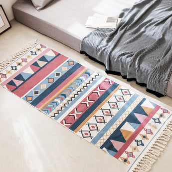 Nordic Cotton Linen Geometric Floor Mat Washable Home Linen 60cm * 180cm + 20cm Tassel B