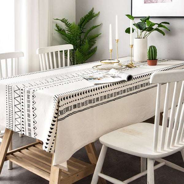 Nordic Cotton Linen Geometric Tablecloth Home Linen 100cm*140cm As the picture