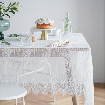 Nordic Farmhouse Style Lace Napkin Tablecloth Home Linen 145CM*145CM White