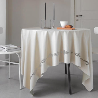 Nordic Leather Washable Waterproof Tablecloth Home Linen 138cm*145cm Beige1
