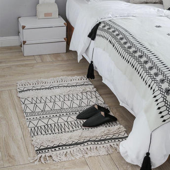 Nordic Moroccan Carpet Floor Mat Geometric Tassel Carpet Home Linen 60cm*90cm As the picture