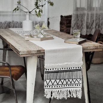 Nordic Moroccan Geometric Tassel Tufted Table Tablecloth Home Linen 35cm*220cm As the picture