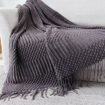 Nordic Solid Color Sofa Tassel Blanket | Home Decoration Home Linen 125cm*150cm Dark Gray