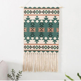 Nordic Tapestry Tassels Handmade Woven Background Wall Hanging Decoration Home Linen 70cm*50cm Green