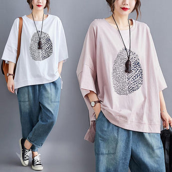 Over Size Summer Loose Casual T-shirt Pink Jan 2021-New Arrival