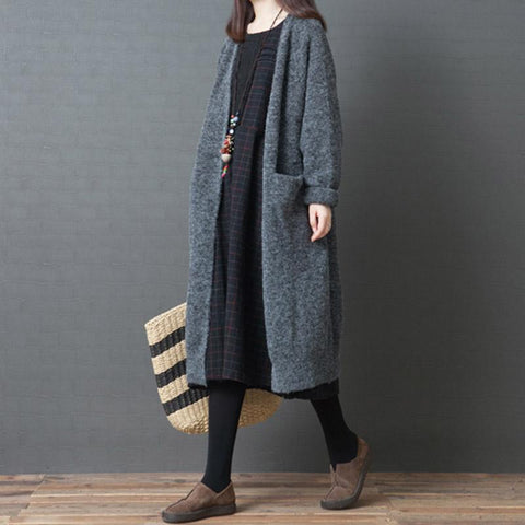 Over the knee Winter Loose Knit Sweater Cardigan Feb 2021 New-Arrival One Size Gray