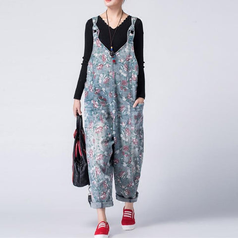Oversized Denim Bib Loose Casual Jumpsuits March-2020-New Arrival One Size As the picture