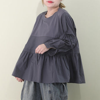 Paneled Loose Fit Ruched Balloon Sleeve T-shirt March-2020-New Arrival M Gray