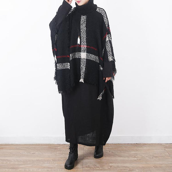 Plaid High Neck Knit Cloak Shawl New In Sweater