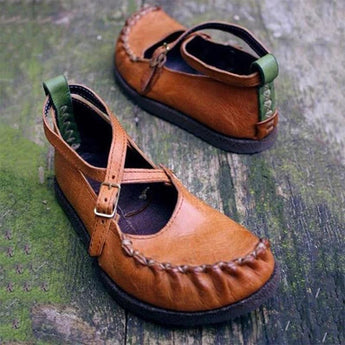 Pleated Buckle Flat Mary Jane Shoes July 2020-New Arrival Brown 35