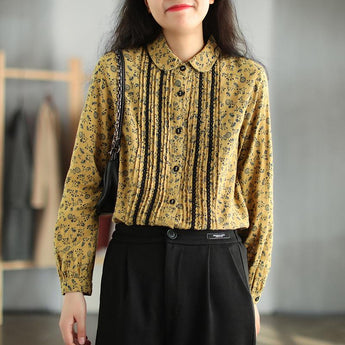Pleated Double-layer Retro Cotton Linen Floral Shirt Jan 2021-New Arrival