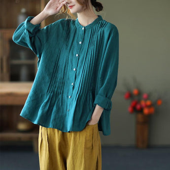 Pleated Stand Collar Long-Sleeved Linen Shirt Jan 2021-New Arrival One Size Blue-Green