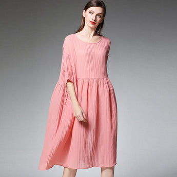 Plus Size Female Pleated Solid Color Midi Dress 2019 March New XL Pink