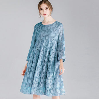 Plus Size Lace Hollow Out Sweetheart Long Sleeve Dress With Strap 2019 May New XL Blue