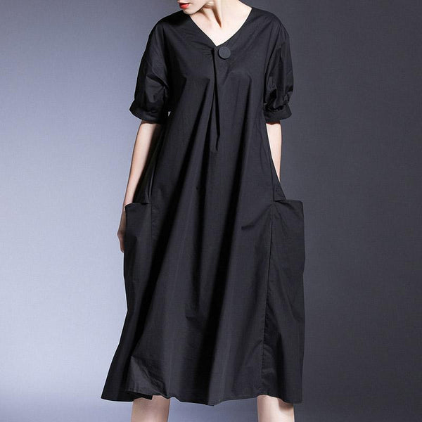 Plus Size Loose Short-sleeved V-neck Summer Cotton Dress March 2021 New-Arrival One Size Black