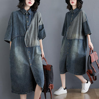 Plus Size Retro Short-sleeve Loose Denim Shirt Dress March 2021 New-Arrival