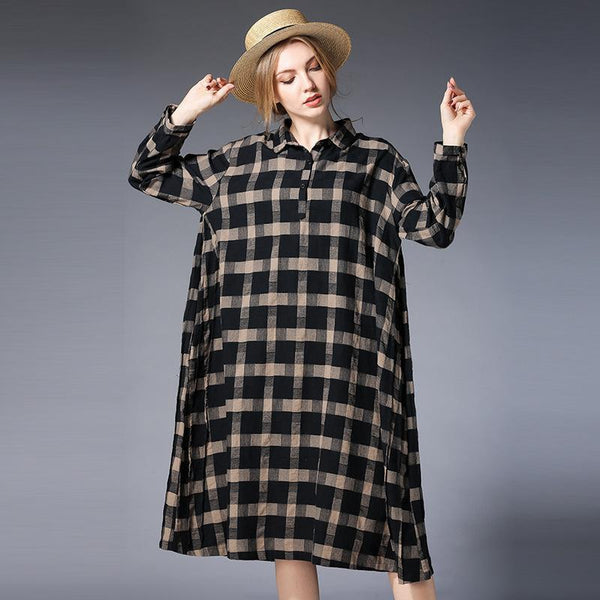 Plus Size Women Plaid Shirt Long Sleeve Dress 2019 April New