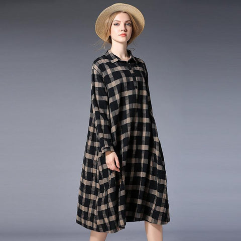 Plus Size Women Plaid Shirt Long Sleeve Dress 2019 April New XXL Black Beige