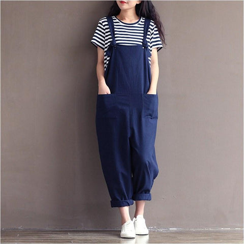 Preppy style Casual Loose Linen jumpsuit Jumpsuits