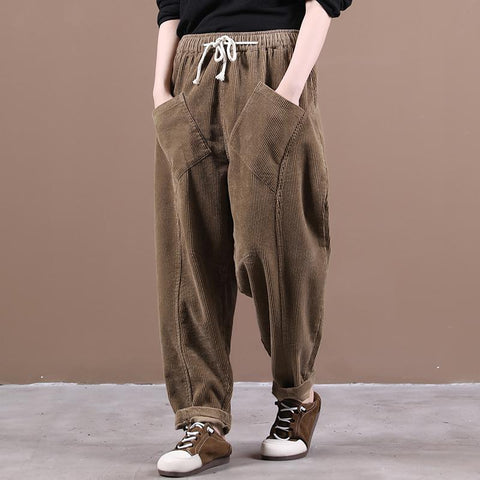 Pure Color Corduroy All-Match Casual Pants August 2020-New Arrival L Light Coffee
