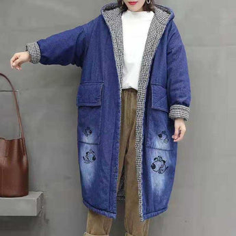Quilted Hooded Cotton Denim Jacket 2019 November New One Size Blue