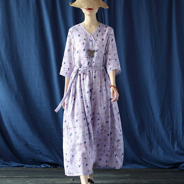 Ramie Digital Print Purple Flower Dress July 2020-New Arrival