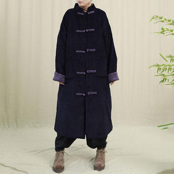 Retro Chinese Style Handsome Corduroy Winter Coat 2019 November New One Size Black