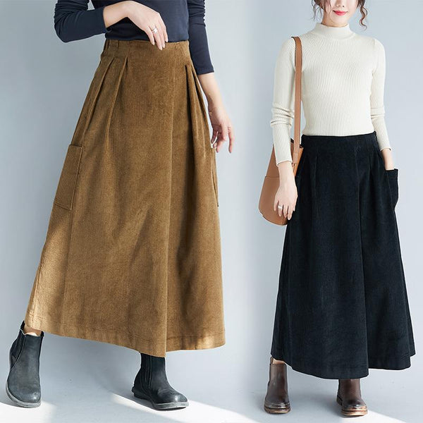 Retro Corduroy Wide-leg Pants Women Autumn And Winter oct xl brown