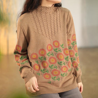 Retro Cotton Flower Printed Loose Sweater Jan 2021-New Arrival One Size Khaki